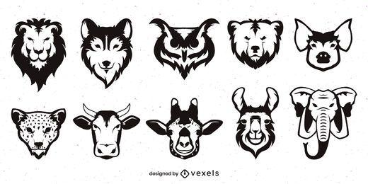 Conjunto de rosto de animal monocromático plano