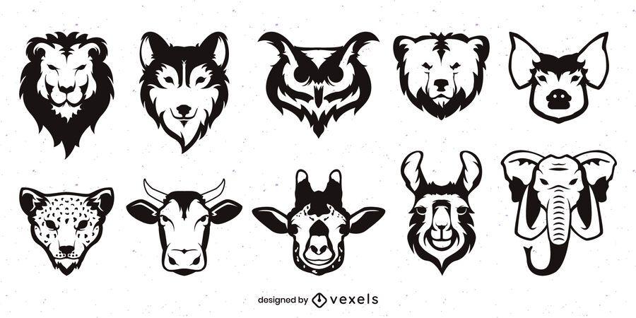 Conjunto de cara de animal monocromo plano