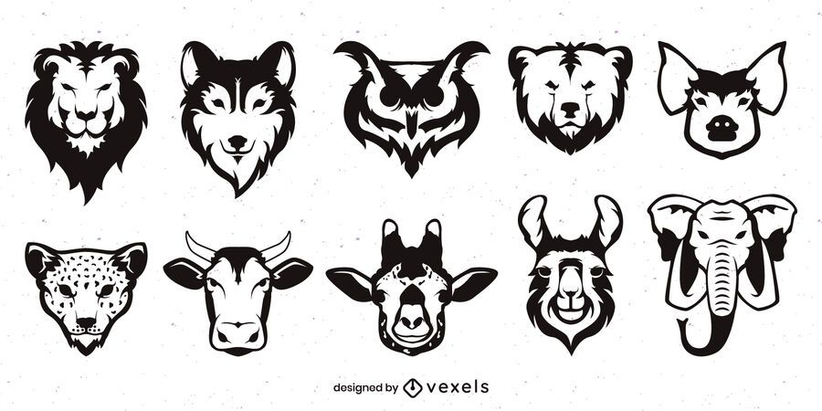 Flat Monochrome Animal Face Set