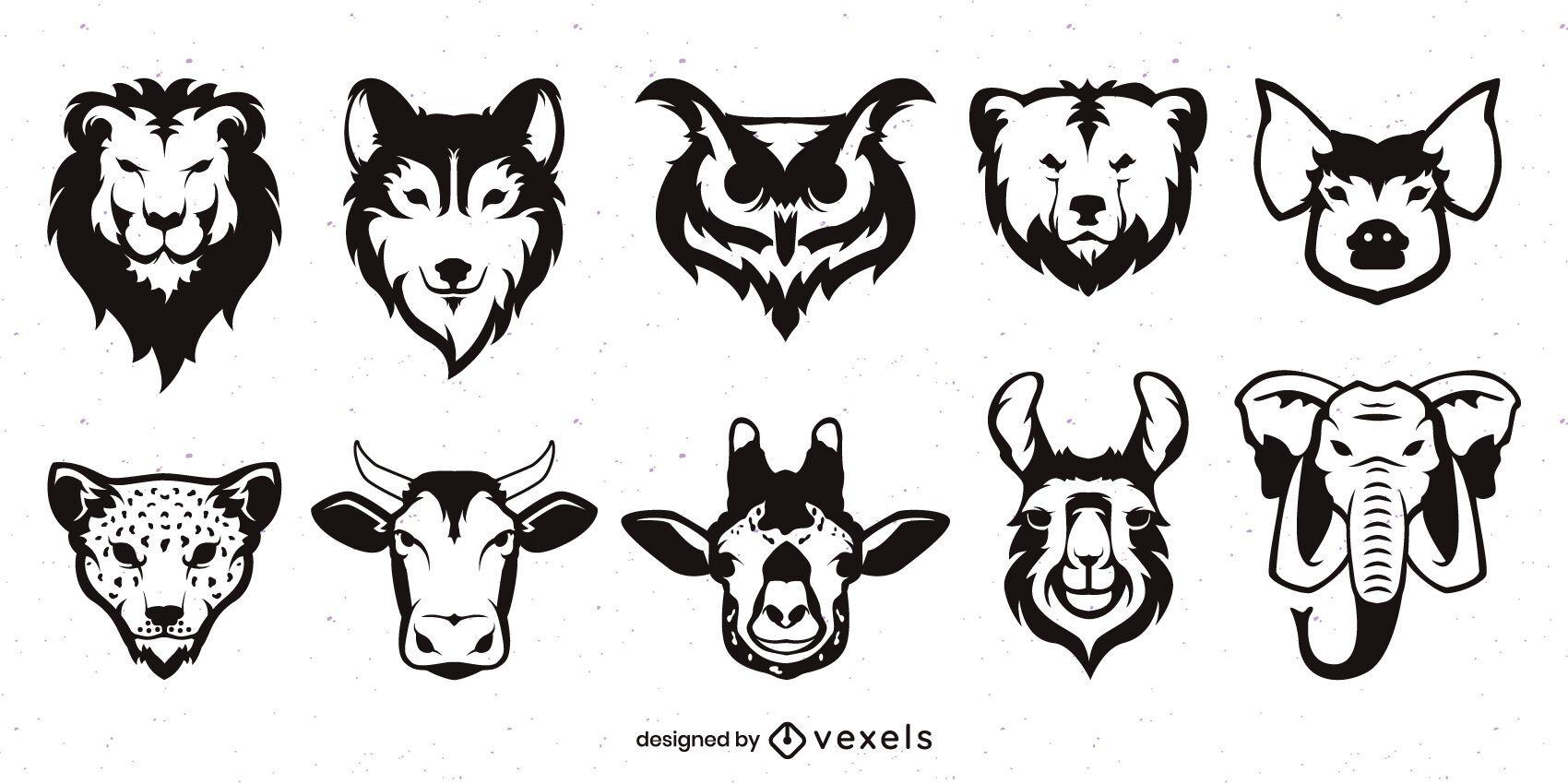 Conjunto de caras de animales monocromáticas planas