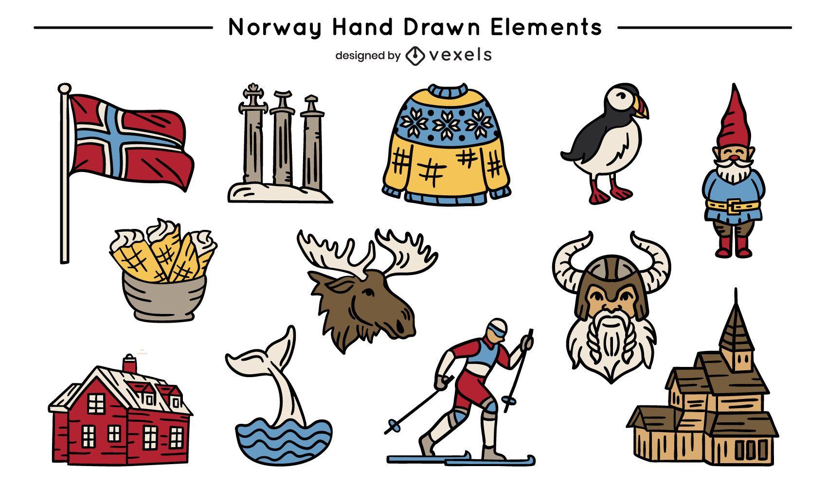 Conjunto de elementos de colores de Noruega dibujados a mano