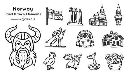 Pacote de elementos desenhados à mão da Noruega