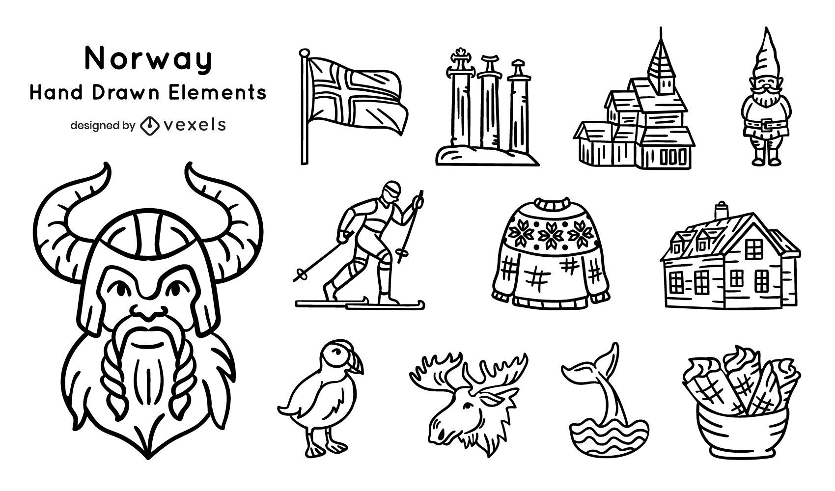 Norway Hand Drawn Elements Pack