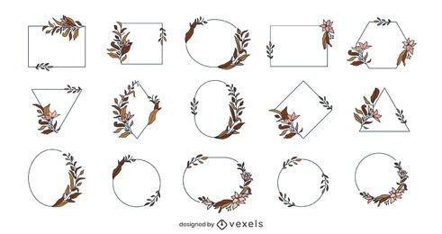Geometrisches Blumenrahmenpaket