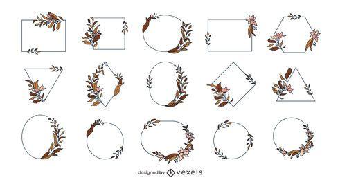 Pack de cuadros de flores geométricas