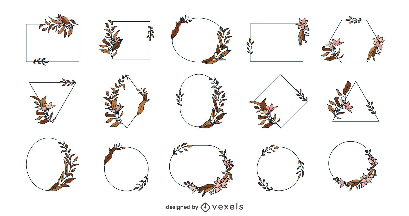 Pacote de quadros de flores geométricas