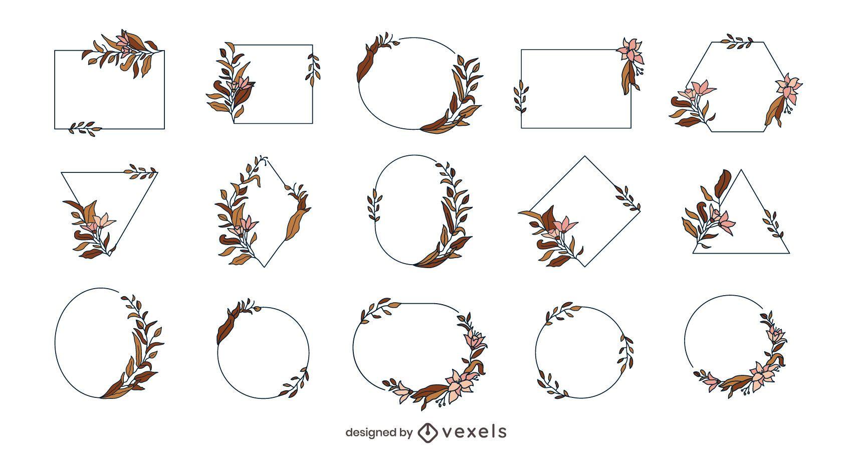 Paquete de marcos de flores geométricas