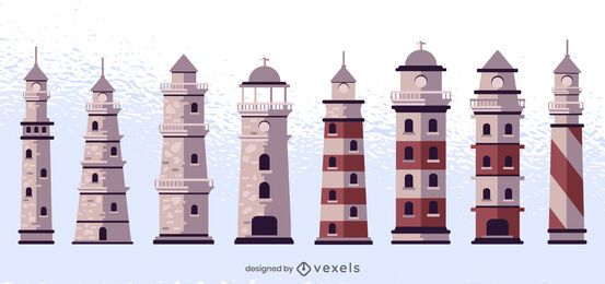 Colored Lighthouse Design Set