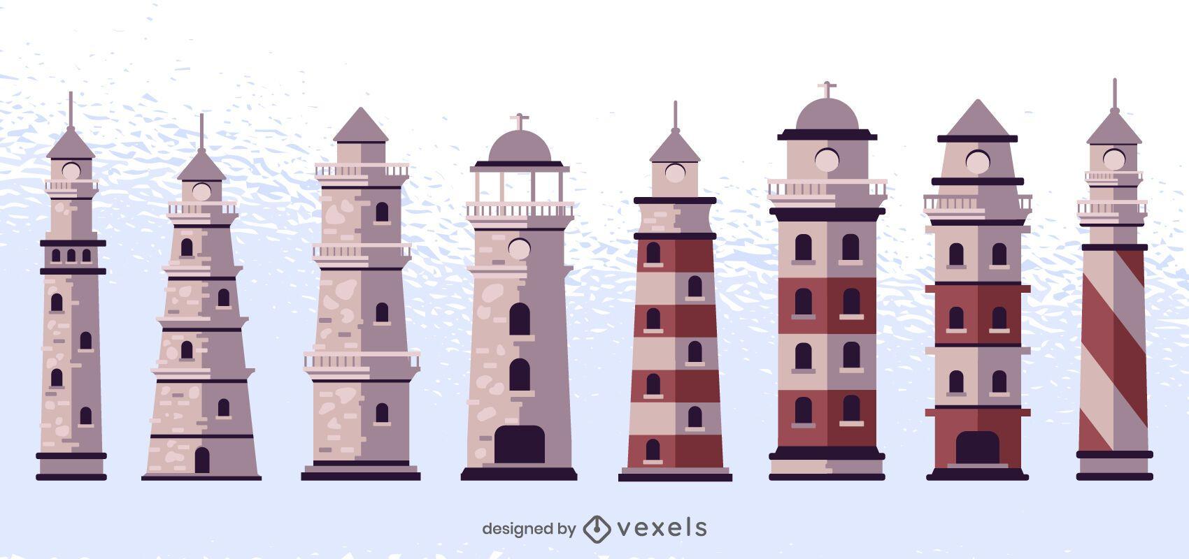 Conjunto de diseño de faro de colores