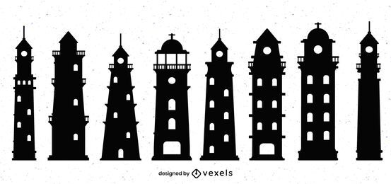 Lighthouse Silhouette Design Set