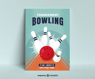 Bowling Turnier Poster Design