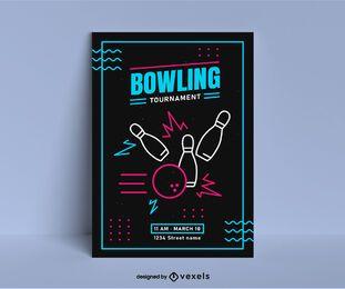 Cartaz vibrante do competiam do bowling
