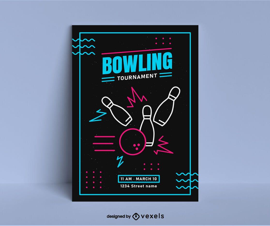 Pôster do Torneio de Bowling Vibrante