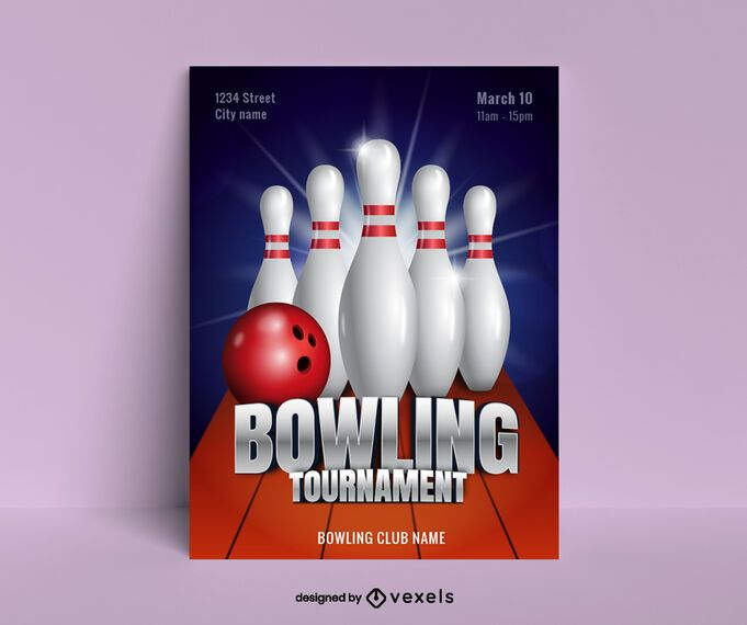 Bowling Realistic Poster Design