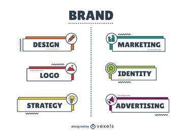 Diseño infográfico de elementos de marca