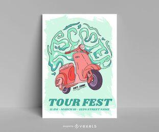 Design de pôster de scooter Tour Fest