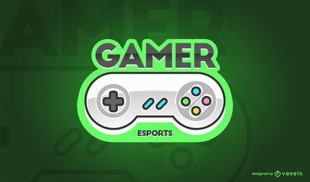 Design do logotipo do controlador de jogos