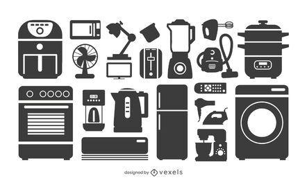 Coleção de silhueta de eletrodomésticos