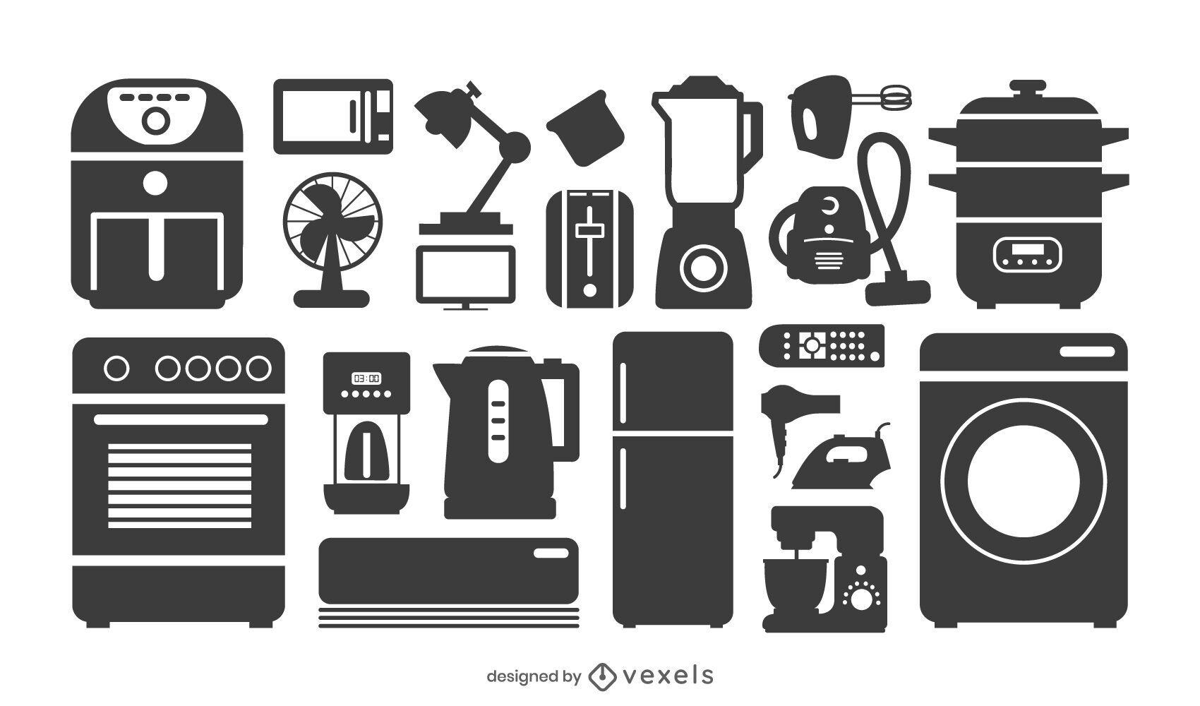 Coleção de silhuetas de eletrodomésticos