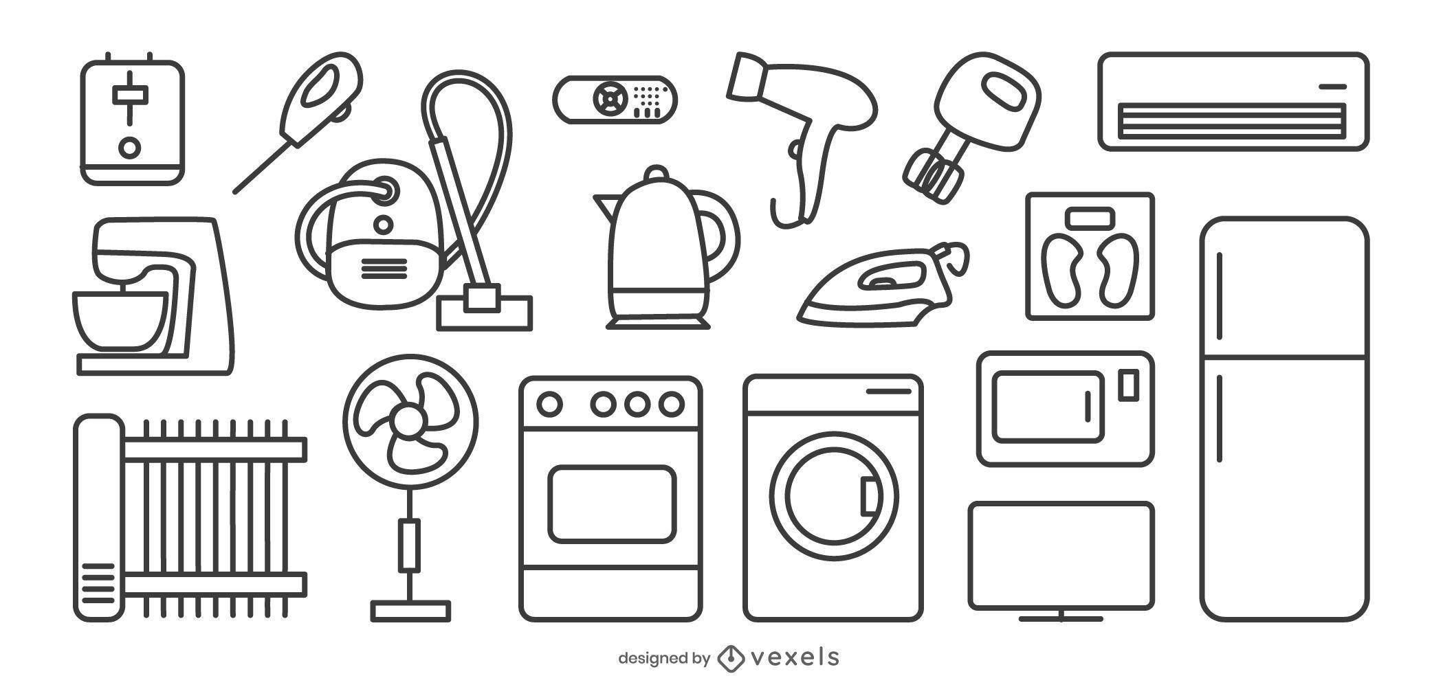 Paquete de electrodomésticos Stroke Line