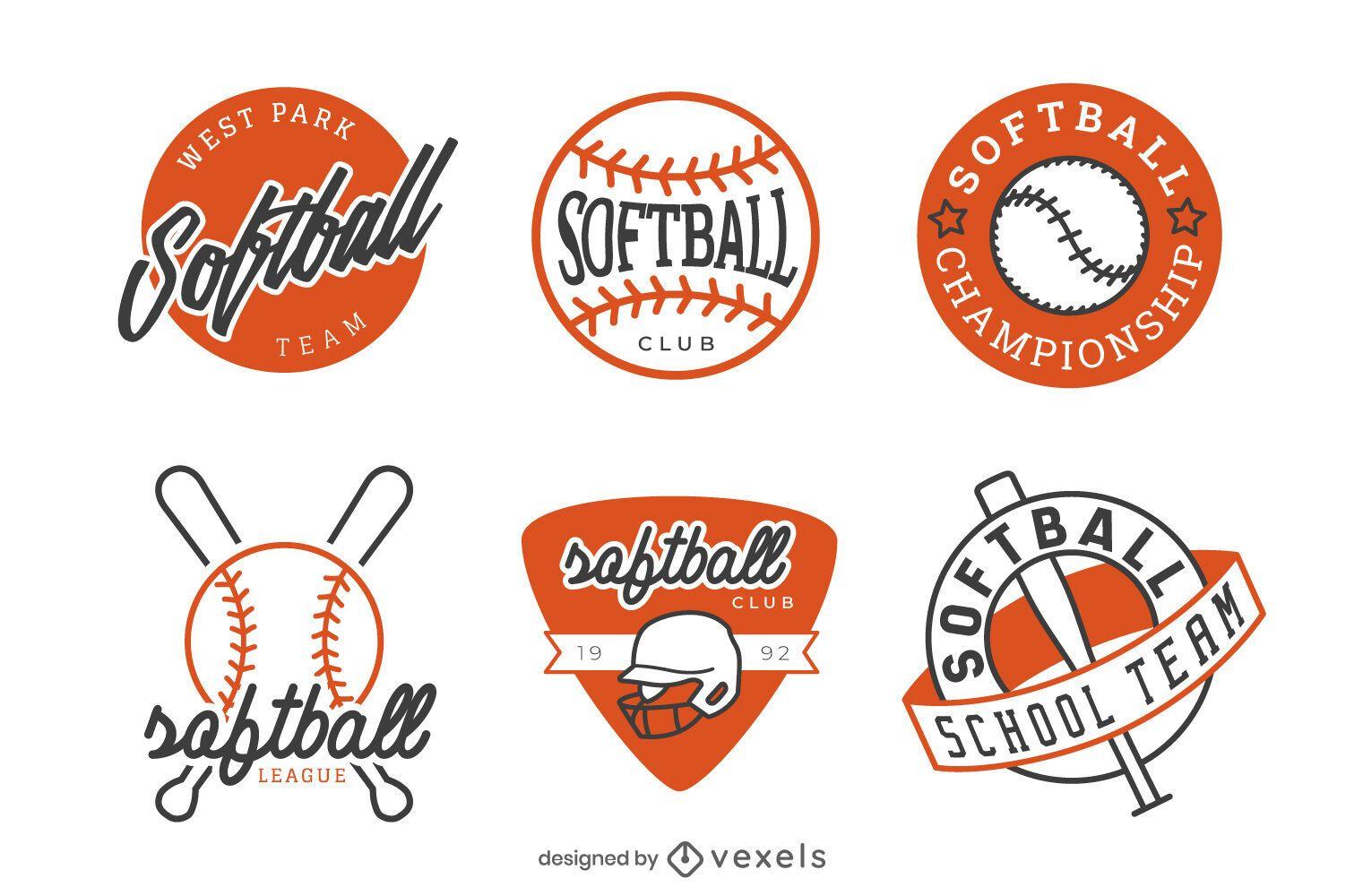 Pacote de design de emblemas de softbol