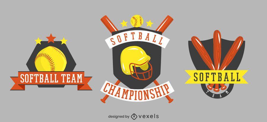 conjunto de insignias del equipo de softbol