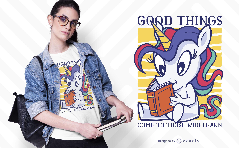 diseño de camiseta de lectura de unicornio