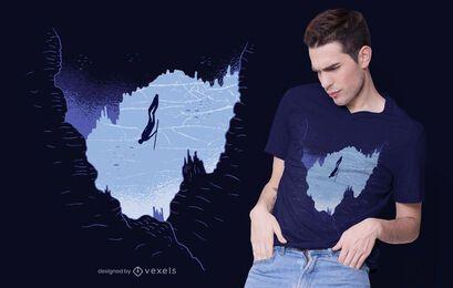Diseño de camiseta Free Diver Cave
