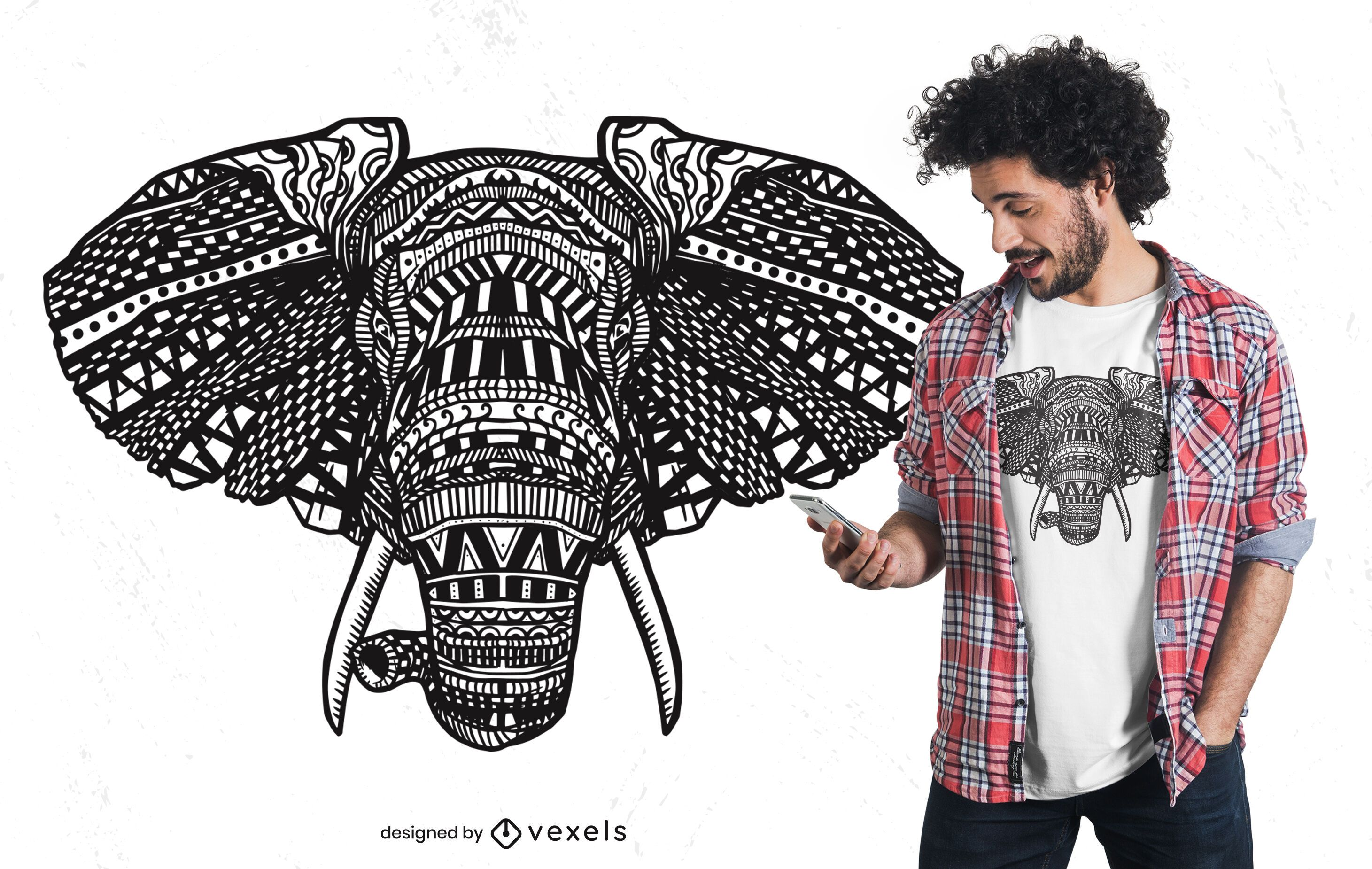 African Elephant Mandala T-shirt Design