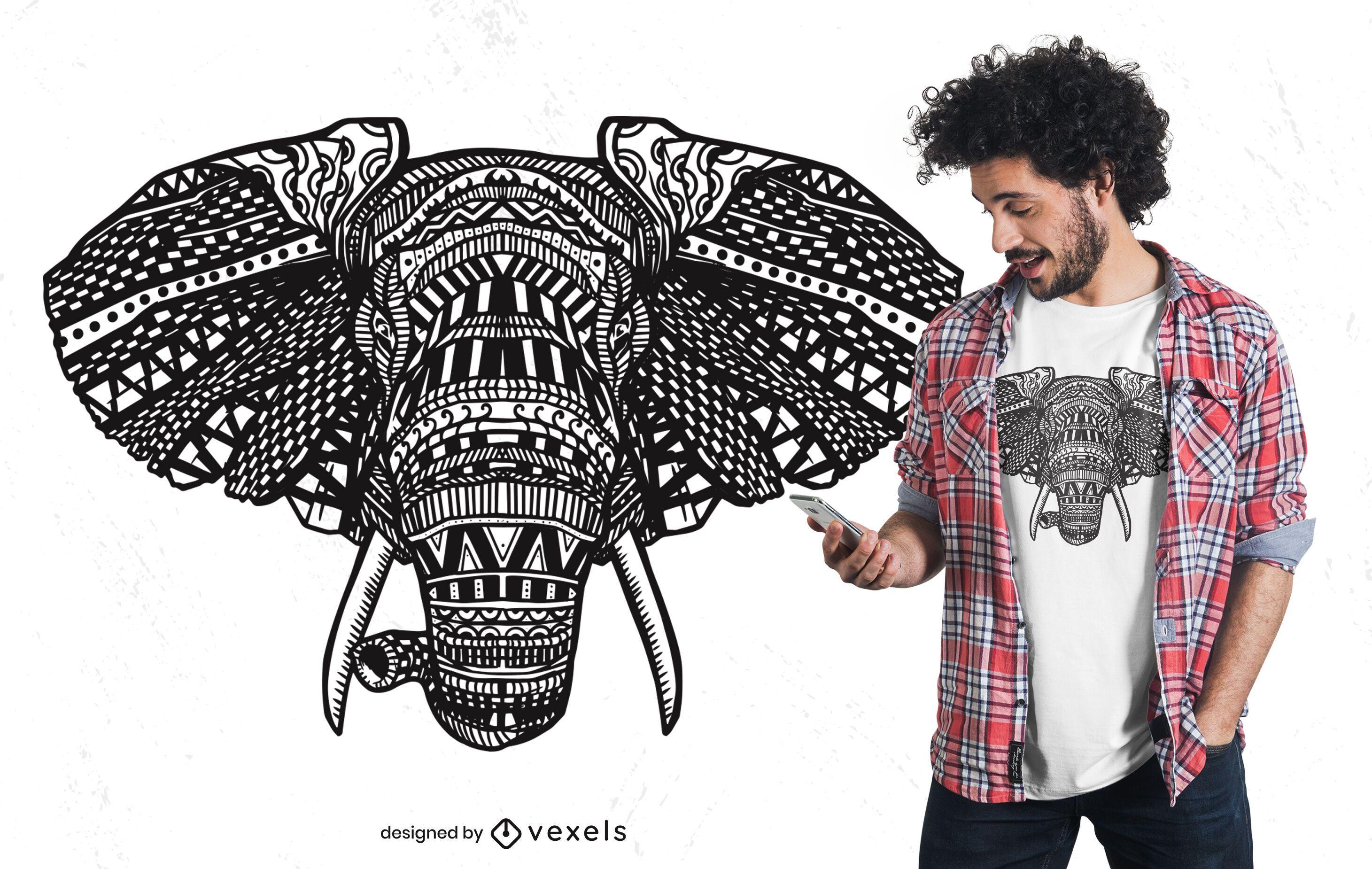 Design de camiseta com mandala de elefante africano