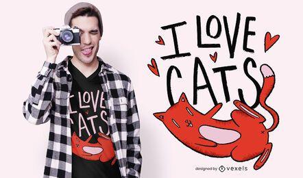 Amo el diseño de la camiseta de los gatos