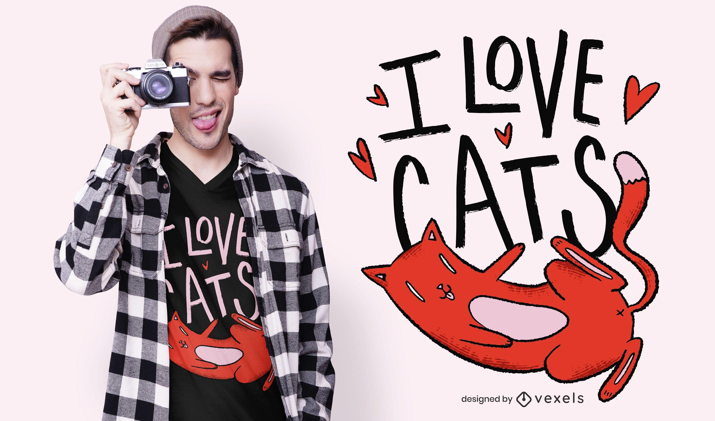 I Love Cats T-shirt Design