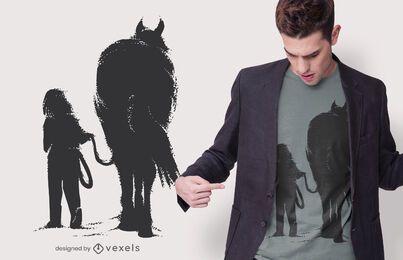 Mädchen mit Pferd T-Shirt Design