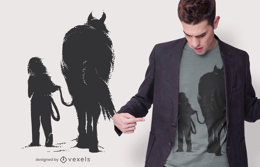 Menina com design de t-shirt de cavalo