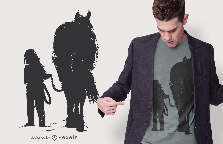 Garota com Design de Camiseta de Cavalo