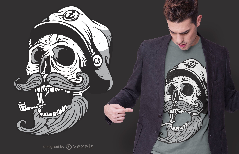 Design de camiseta com caveira de marinheiro
