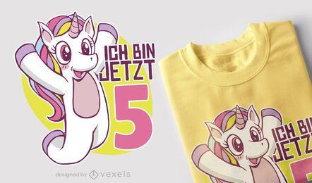 Design alemão do t-shirt do aniversário do unicórnio
