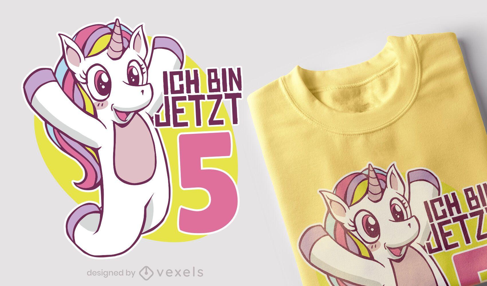 Design de camiseta alemã de aniversário de unicórnio