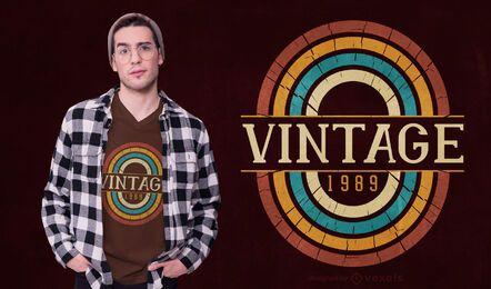 Diseño de camiseta vintage 1989