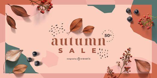 Deslizador de banner de venta de otoño