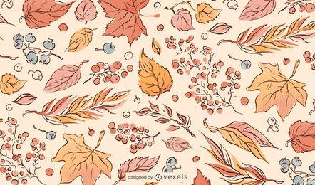 Patrón de ilustración de hojas de otoño