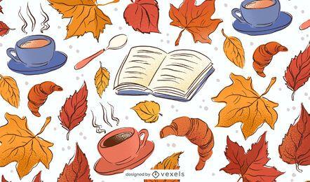 Design de fundo de desenhos de outono