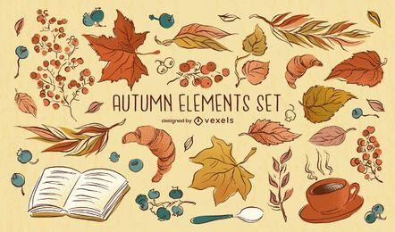 Conjunto de dibujo de elementos de otoño