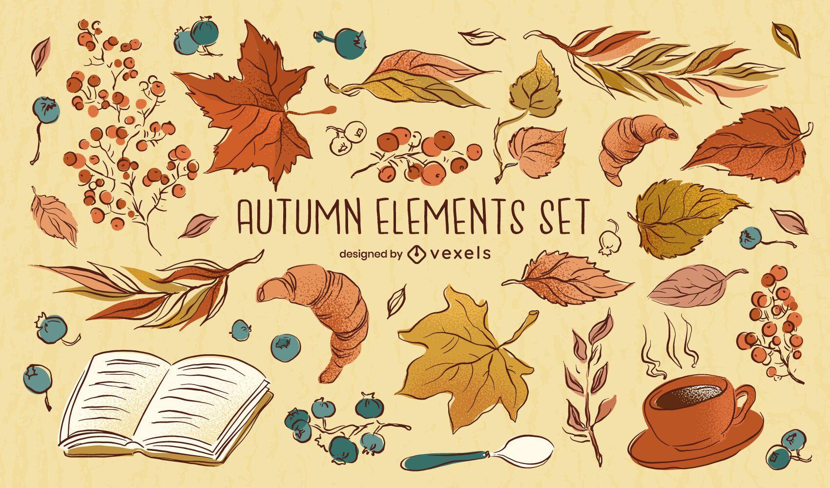 Autumn Elements Drawing Set