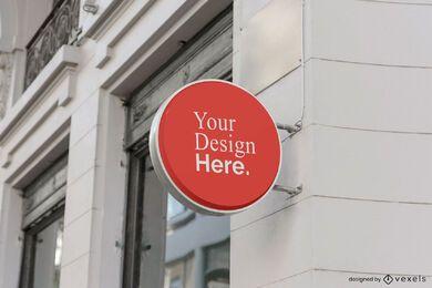 round shop sign mockup
