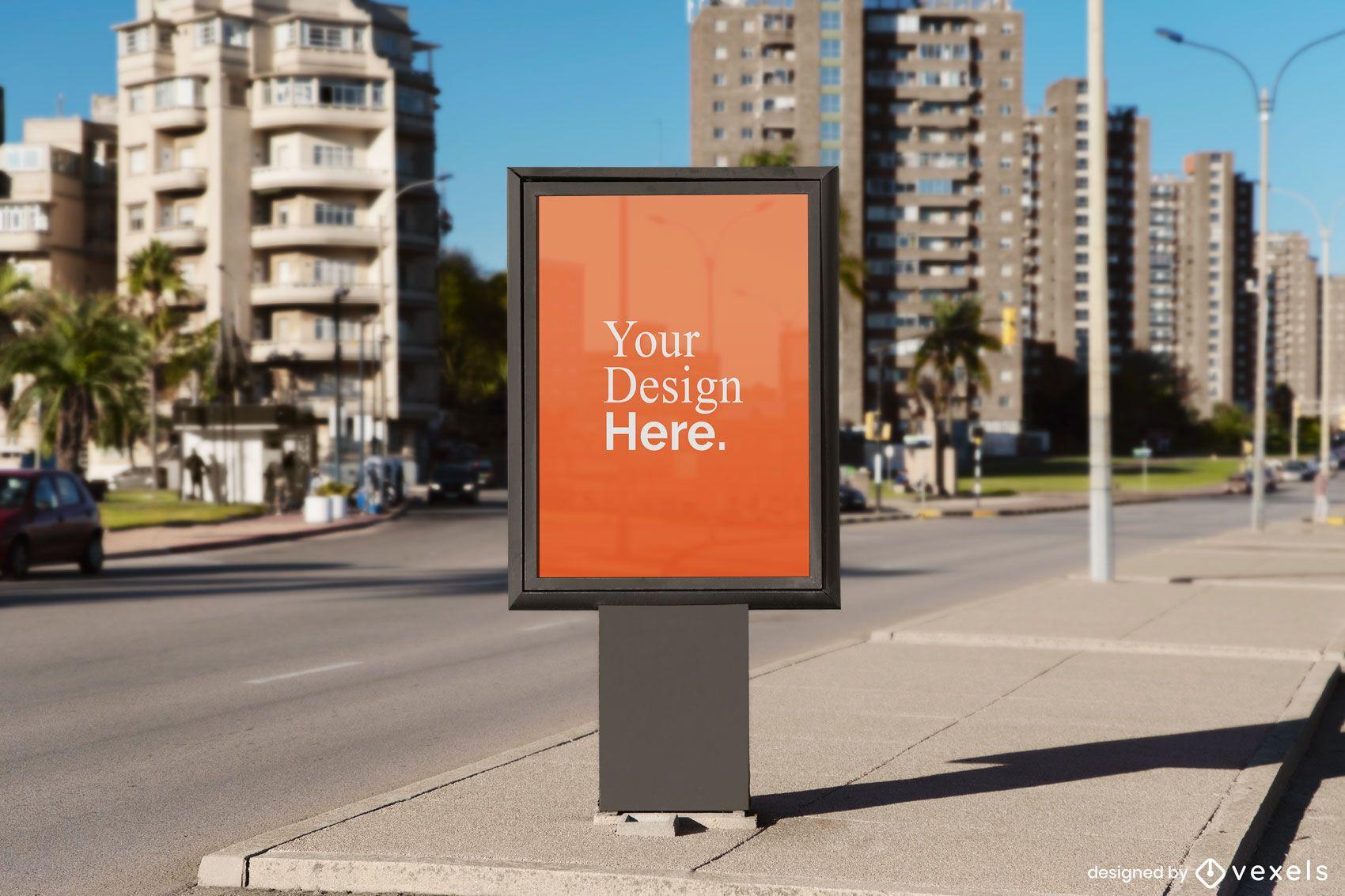 vertical street billboard mockup
