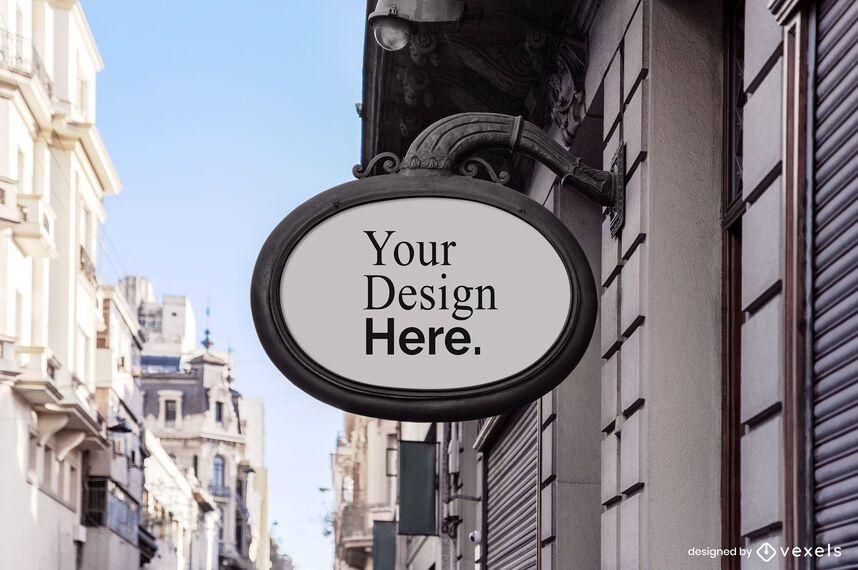 Vintage shop sign mockup
