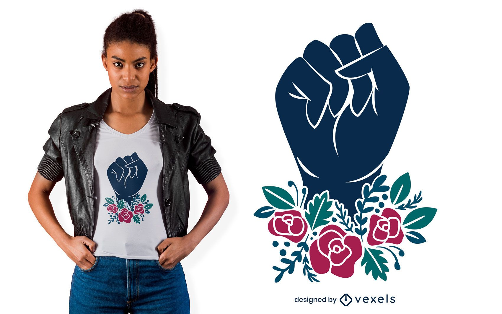 Diseño de camiseta Flower Fist Rising