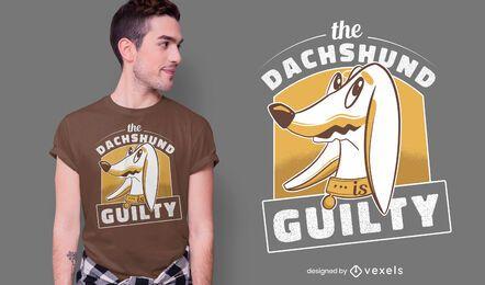Diseño de camiseta de perro salchicha culpable