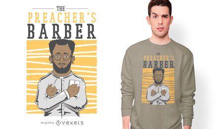 Diseño de camiseta de peluquero del predicador.